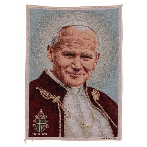 Gobelin Papież Jan Paweł II z herbem 40x30 cm 1