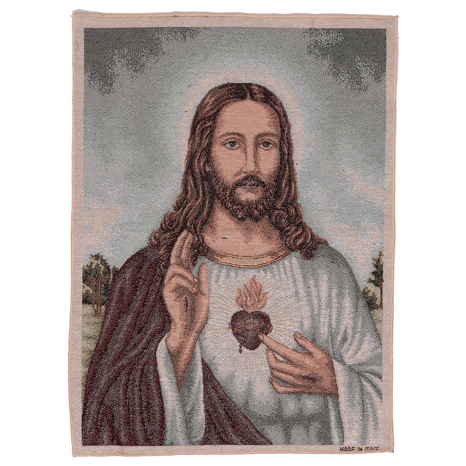 Tapiz Sagrado Corazón de Jesús con paisaje 50x40 3