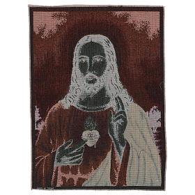 Tapiz Sagrado Corazón de Jesús con paisaje 50x40 s3