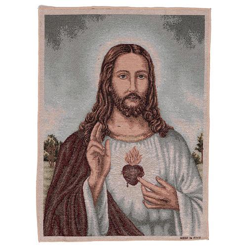 Arazzo Sacro Cuore di Gesù con paesaggio 50x40 1