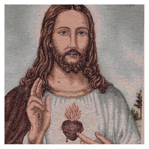 Arazzo Sacro Cuore di Gesù con paesaggio 50x40 2