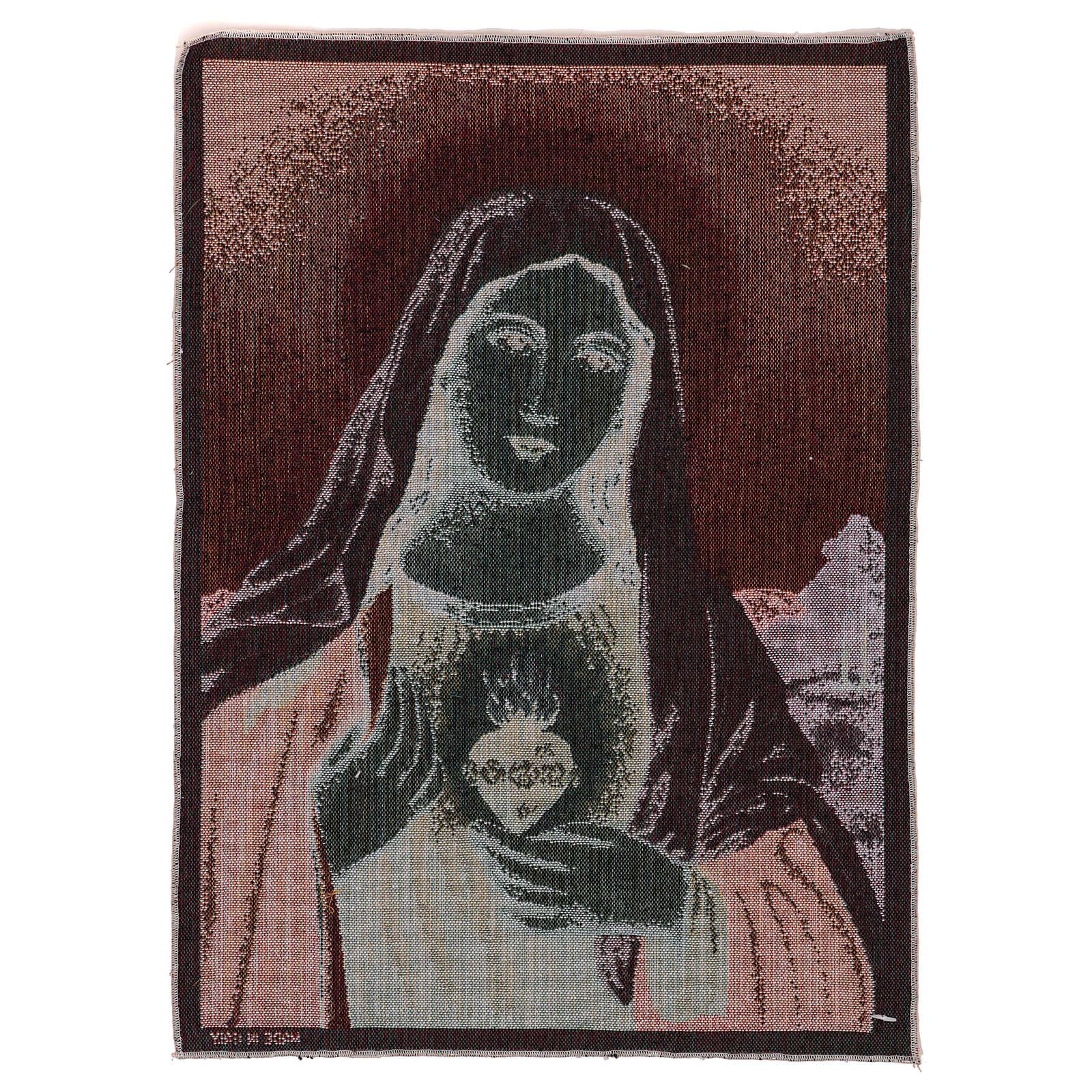 Tapiz Sagrado Corazón de María con paisaje 50x40 3