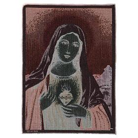 Tapiz Sagrado Corazón de María con paisaje 50x40 s3
