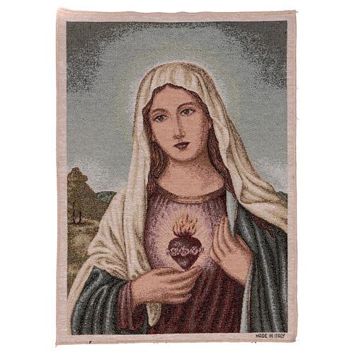 Tapiz Sagrado Corazón de María con paisaje 50x40 1