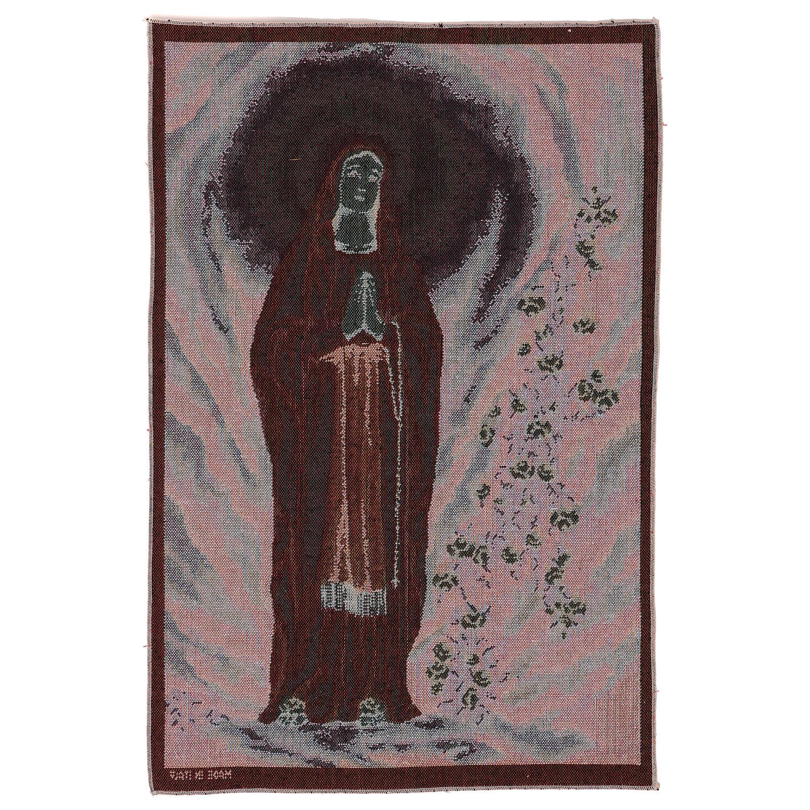 Arazzo Madonna di Lourdes nella grotta 60x40 cm 3