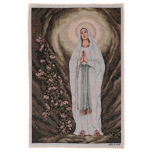 Arazzo Madonna di Lourdes nella grotta 60x40 cm 1