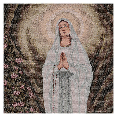 Arazzo Madonna di Lourdes nella grotta 60x40 cm 2