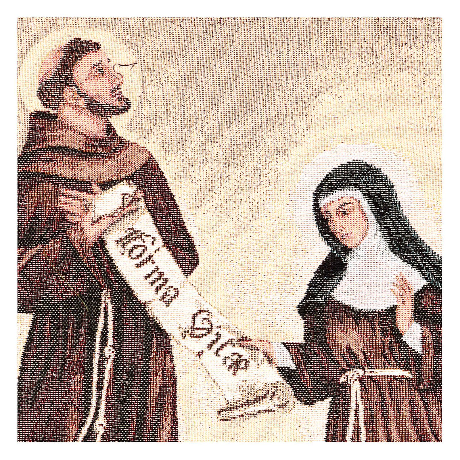 Arazzo Dono della Regola San Francesco e Santa Chiara 50x40 cm 3