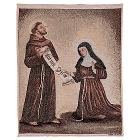 Arazzo Dono della Regola San Francesco e Santa Chiara 50x40 cm s1