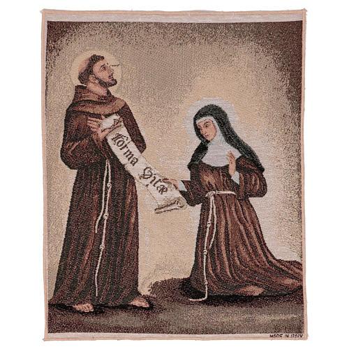 Arazzo Dono della Regola San Francesco e Santa Chiara 50x40 cm 1