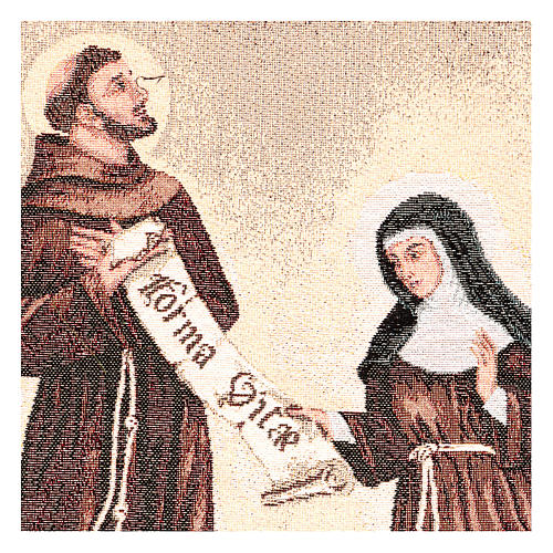 Arazzo Dono della Regola San Francesco e Santa Chiara 50x40 cm 2