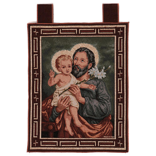 Wandteppich Heiliger Josef mit Lilie, mit Rahmen und Schlaufen 50x40 cm 1