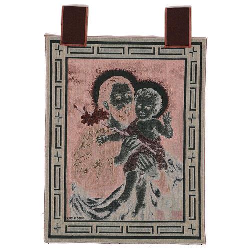 Wandteppich Heiliger Josef mit Lilie, mit Rahmen und Schlaufen 50x40 cm 3