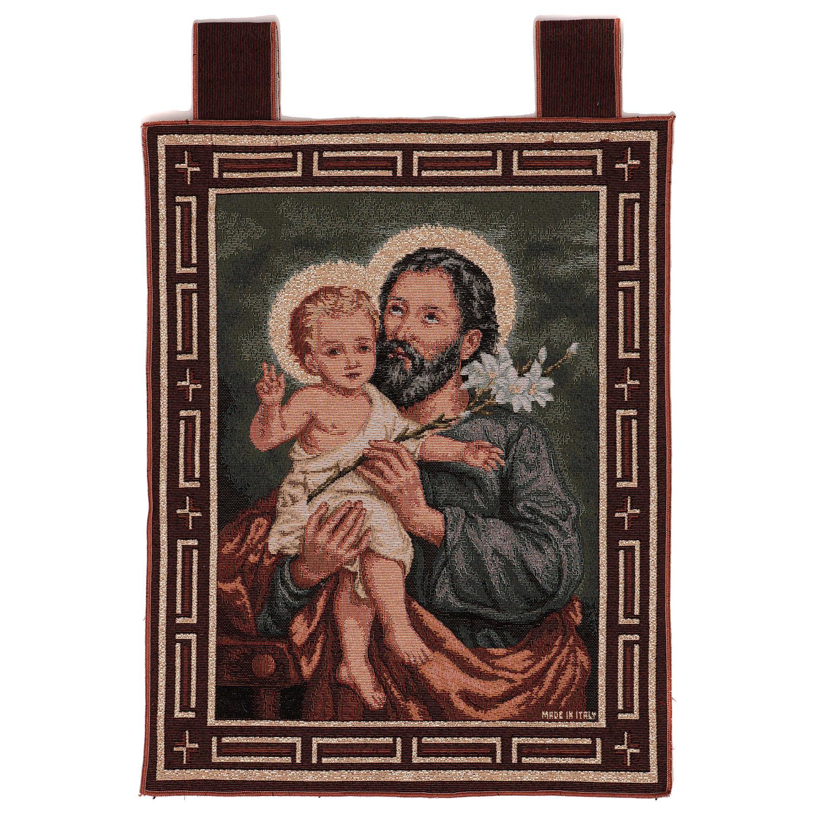 Arazzo San Giuseppe con giglio cornice ganci 50x40 cm 3