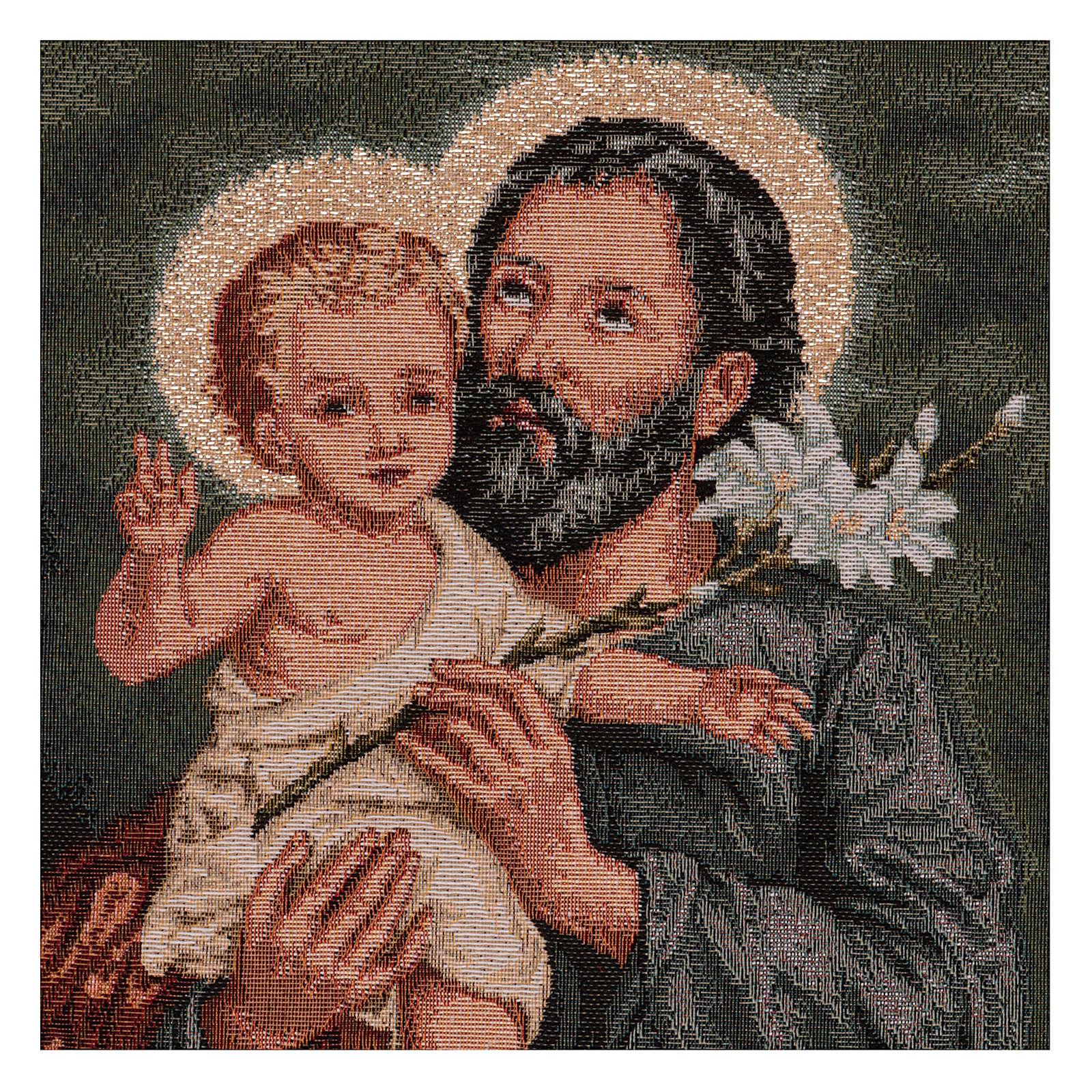 Gobelin Święty Józef z lilią rama uszy 50x40 cm 3