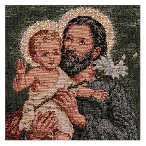 Gobelin Święty Józef z lilią rama uszy 50x40 cm 2