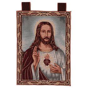 Tapices: Tapiz Sagrado Corazón de Jesús con paisaje marco ganchos 50x40