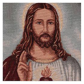 Arazzo Sacro Cuore di Gesù con paesaggio cornice ganci 50x40 s2
