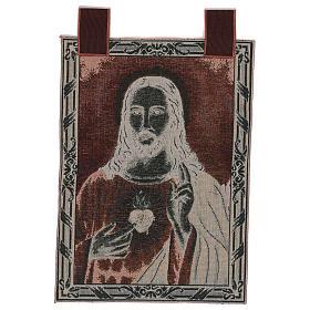 Arazzo Sacro Cuore di Gesù con paesaggio cornice ganci 50x40 s3
