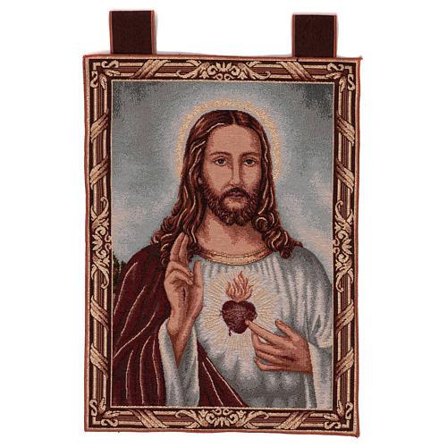 Arazzo Sacro Cuore di Gesù con paesaggio cornice ganci 50x40 1