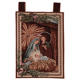 Tapestries: Holy Family tapestry with frame and hooks 50x40 cm