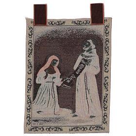 Wandteppich Empfang der Ordensregeln Heiliger Franziskus und Heilige Klara 50x40 cm s3