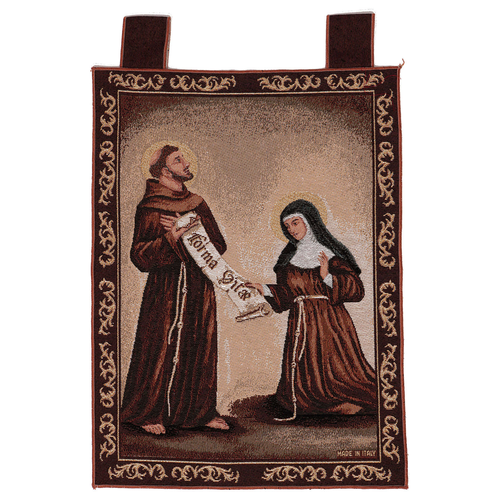 Arazzo Dono della Regola San Francesco e Santa Chiara cornice ganci 50x40 cm 3