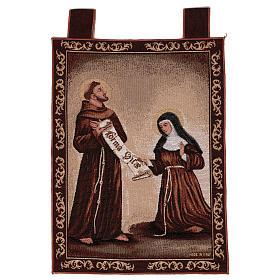 Arazzo Dono della Regola San Francesco e Santa Chiara cornice ganci 50x40 cm s1