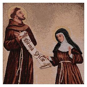 Arazzo Dono della Regola San Francesco e Santa Chiara cornice ganci 50x40 cm s2