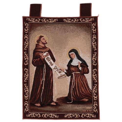 Arazzo Dono della Regola San Francesco e Santa Chiara cornice ganci 50x40 cm 1