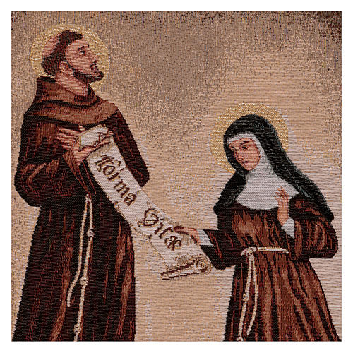 Arazzo Dono della Regola San Francesco e Santa Chiara cornice ganci 50x40 cm 2