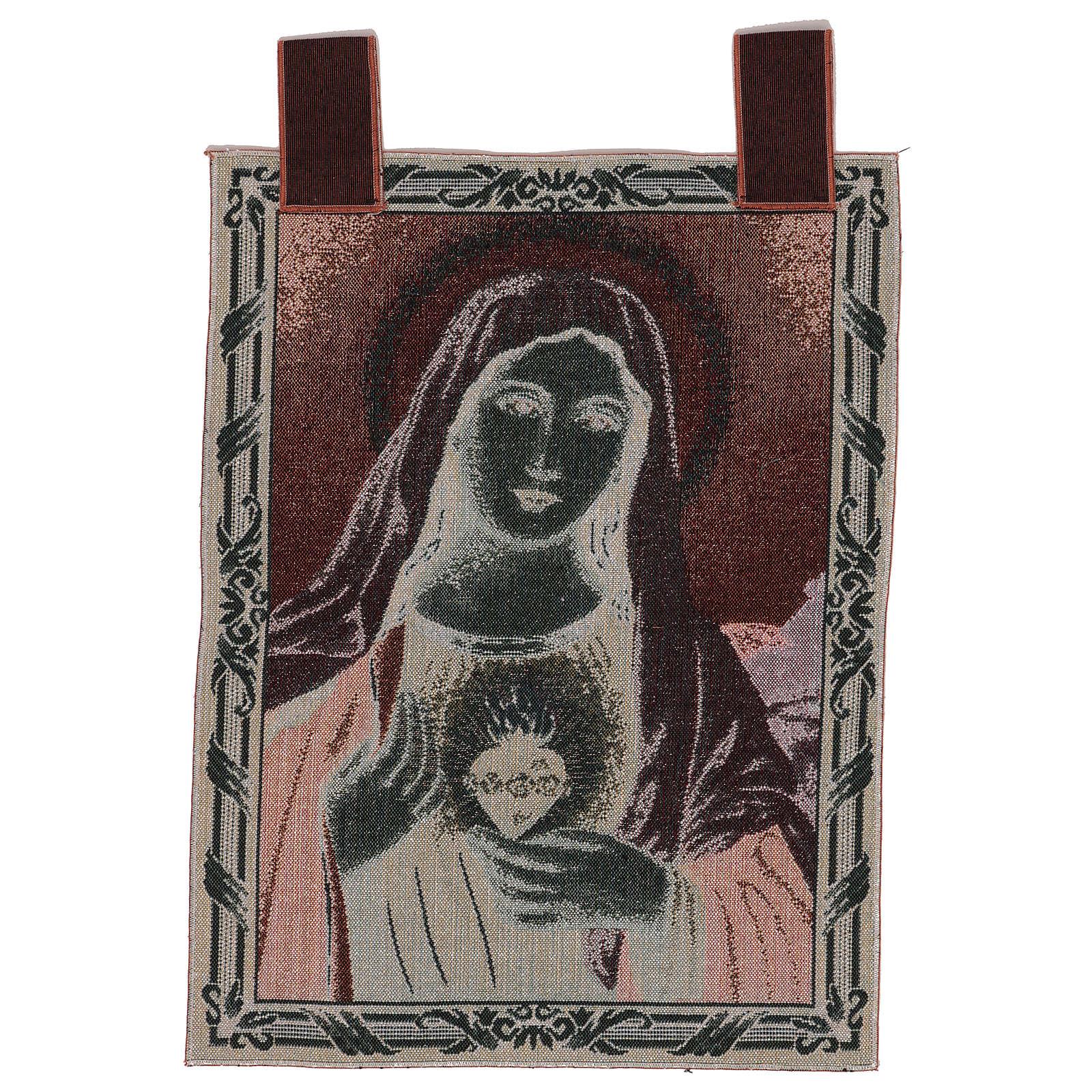 Arazzo Sacro Cuore di Maria con paesaggio cornice ganci 50x40 cm 3