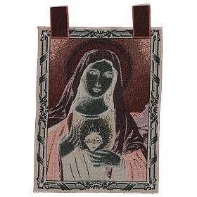 Arazzo Sacro Cuore di Maria con paesaggio cornice ganci 50x40 cm s3
