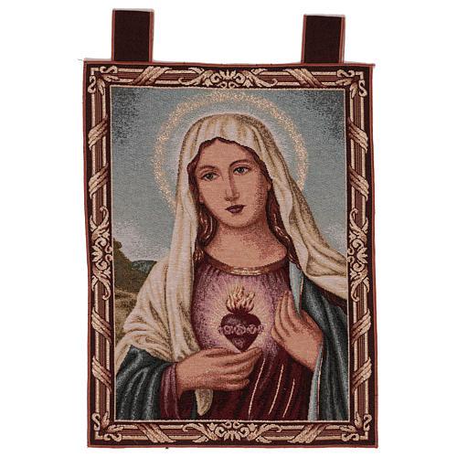 Arazzo Sacro Cuore di Maria con paesaggio cornice ganci 50x40 cm 1