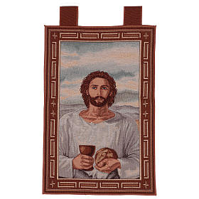 Tapestries: Eucharist Jesus with chalice tapestry with frame and hooks 50x40 cm