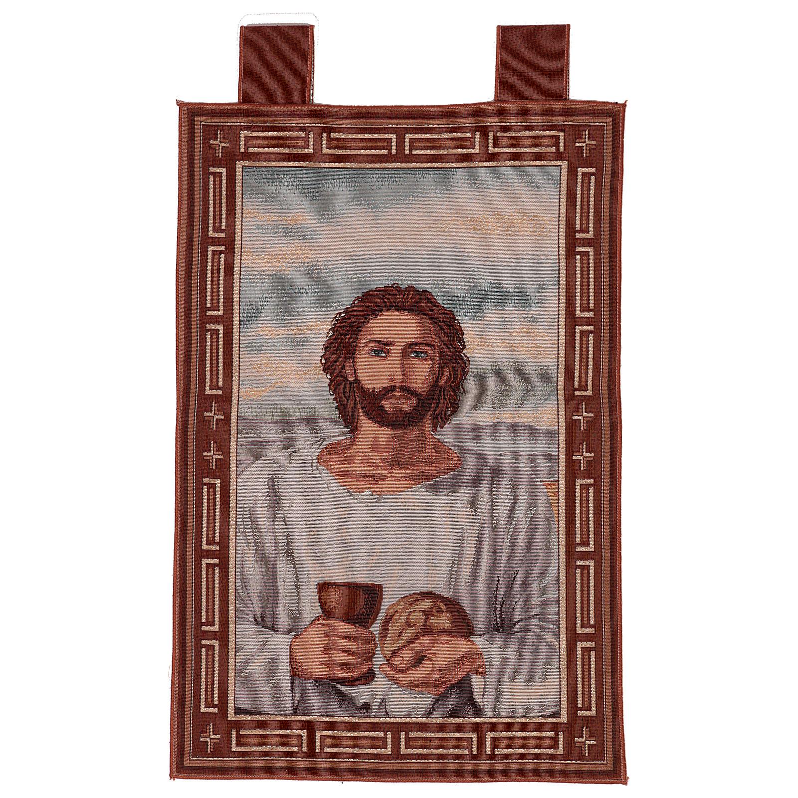 Arazzo Gesù Eucaristico con Calice cronice ganci 50x40 cm 3