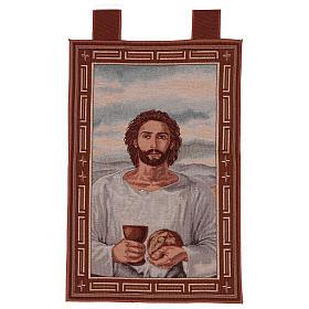 Arazzo Gesù Eucaristico con Calice cronice ganci 50x40 cm s1