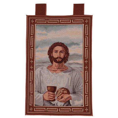 Arazzo Gesù Eucaristico con Calice cronice ganci 50x40 cm 1