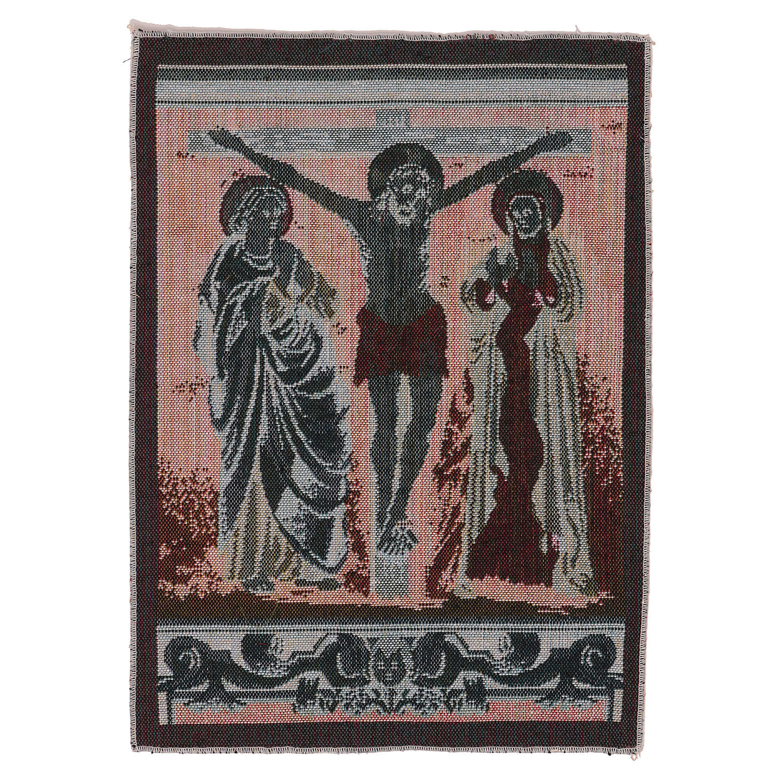 Crucified Jesus Christ with Mary and John tapestry 40x30 cm 3