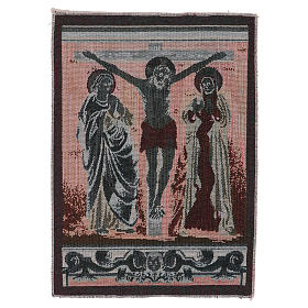 Crucified Jesus Christ with Mary and John tapestry 40x30 cm s3