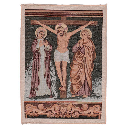 Crucified Jesus Christ with Mary and John tapestry 40x30 cm 1