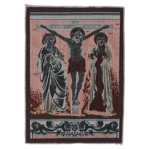 Arazzo Cristo in Croce con Maria e Giovanni 40x30 cm 3