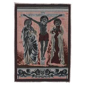 Gobelin Chrystus na krzyżu z Maryją i Janem 40x30 cm s3