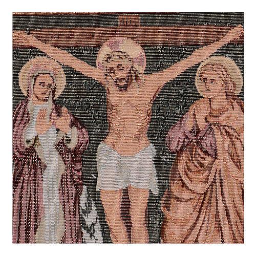 Gobelin Chrystus na krzyżu z Maryją i Janem 40x30 cm 2