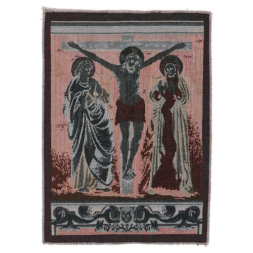 Gobelin Chrystus na krzyżu z Maryją i Janem 40x30 cm 3