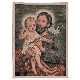 Wandteppich Heiliger Josef mit Lilie 50x40 cm s1