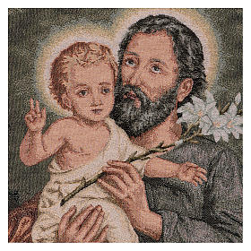 Wandteppich Heiliger Josef mit Lilie 50x40 cm s2