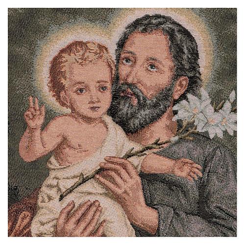 Wandteppich Heiliger Josef mit Lilie 50x40 cm 2