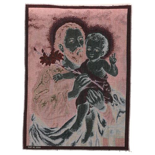 Wandteppich Heiliger Josef mit Lilie 50x40 cm 3