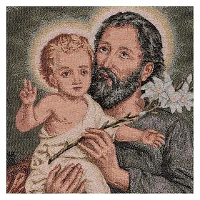 Gobelin Święty Józef z lilią 55x40 cm s2